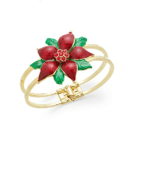 Charter Club Gold-Tone Crystal Poinsettia Bangle-CHARTER CLUB-Fashionbarn shop