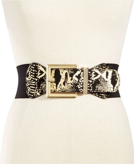 INC International Concepts Metal Buckle Snake Stretch Waist Belt - Fashionbarn shop