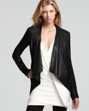 DONNA KARAN LEATHER JACKET-DONNA KARAN-Fashionbarn shop