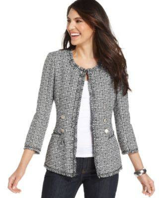 NY COLLECTION PETITE JACKET THREE-QUARTER-S SPRING-NY COLLECTION-Fashionbarn shop