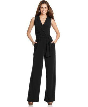 NY COLLECTION JUMPSUIT, SLEEVELESS SURPLICE BLACK M-NY COLLECTION-Fashionbarn shop