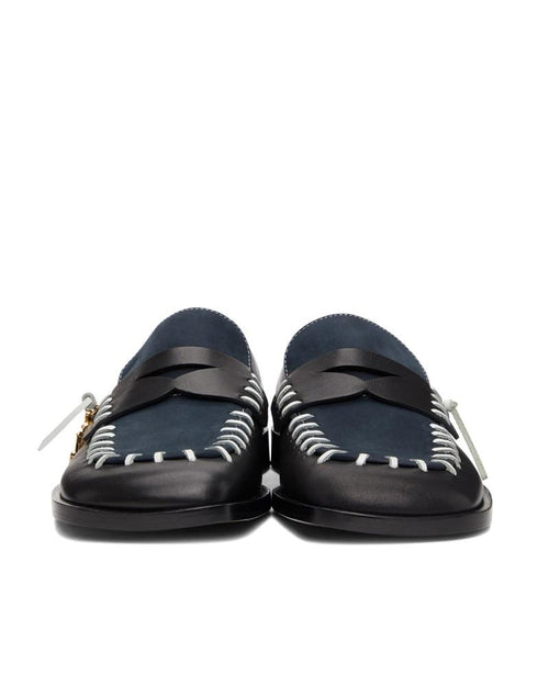 JW Anderson Black & Navy Loafers Flat Stitch