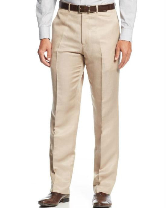 Kenneth Cole New York Tan Solid Trim-Fit Dress Pants-KENNETH COLE-Fashionbarn shop