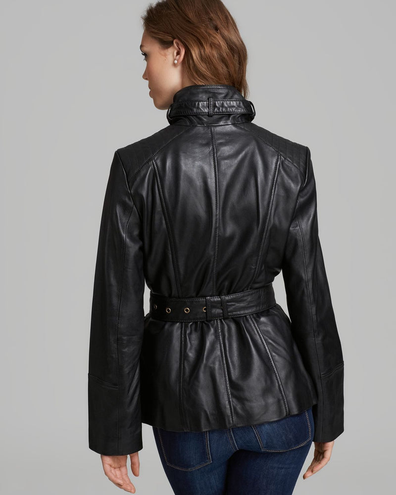 Marc New York Funnel-Collar Belted Leather Jacket-ANDREW & SUZANNE-Fashionbarn shop