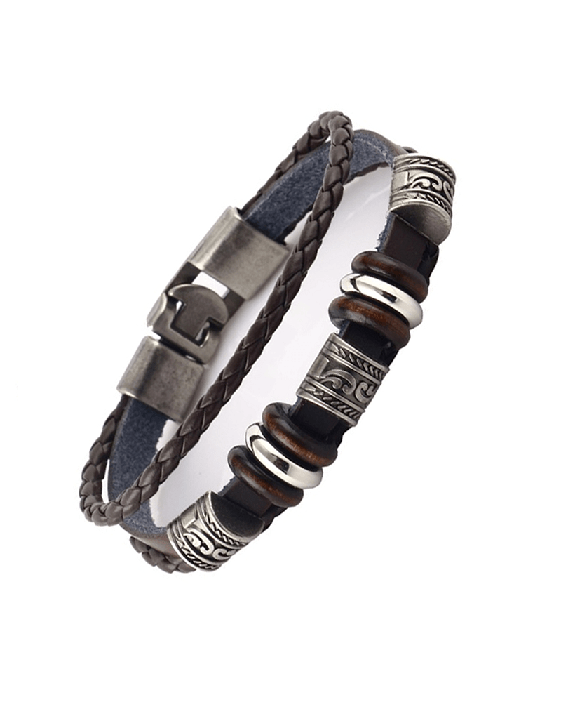 Steffe Unisex Handmade Retro Dark Genuine Leather Woven Charm Bracelet