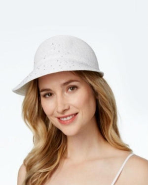 August Hats White Sequin Stud Framer Hat