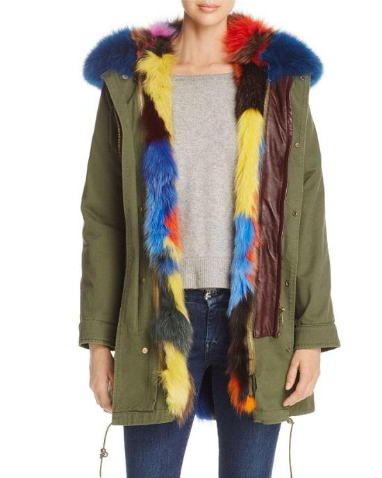 Maximilian Women's Green Patchwork Fox Fur Lined Parka