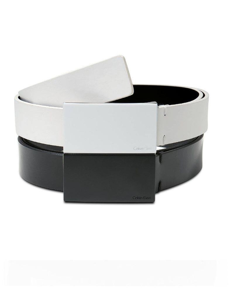 Calvin Klein White Enamel Plaque Buckle Belt - Fashionbarn shop
