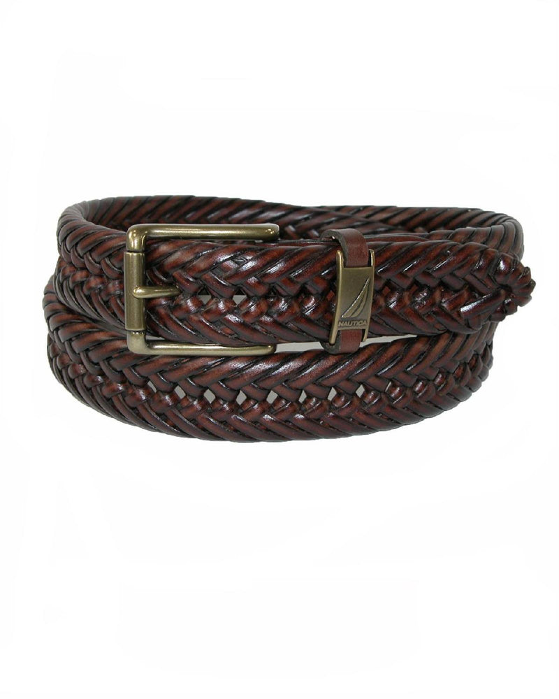 Nautica Mens Leather Handlaced Basket Weave Braided Belt-NAUTICA-Fashionbarn shop