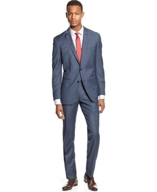 Bar III Slim Fit Gray Pinstriped Two Button Wool Blend Suit