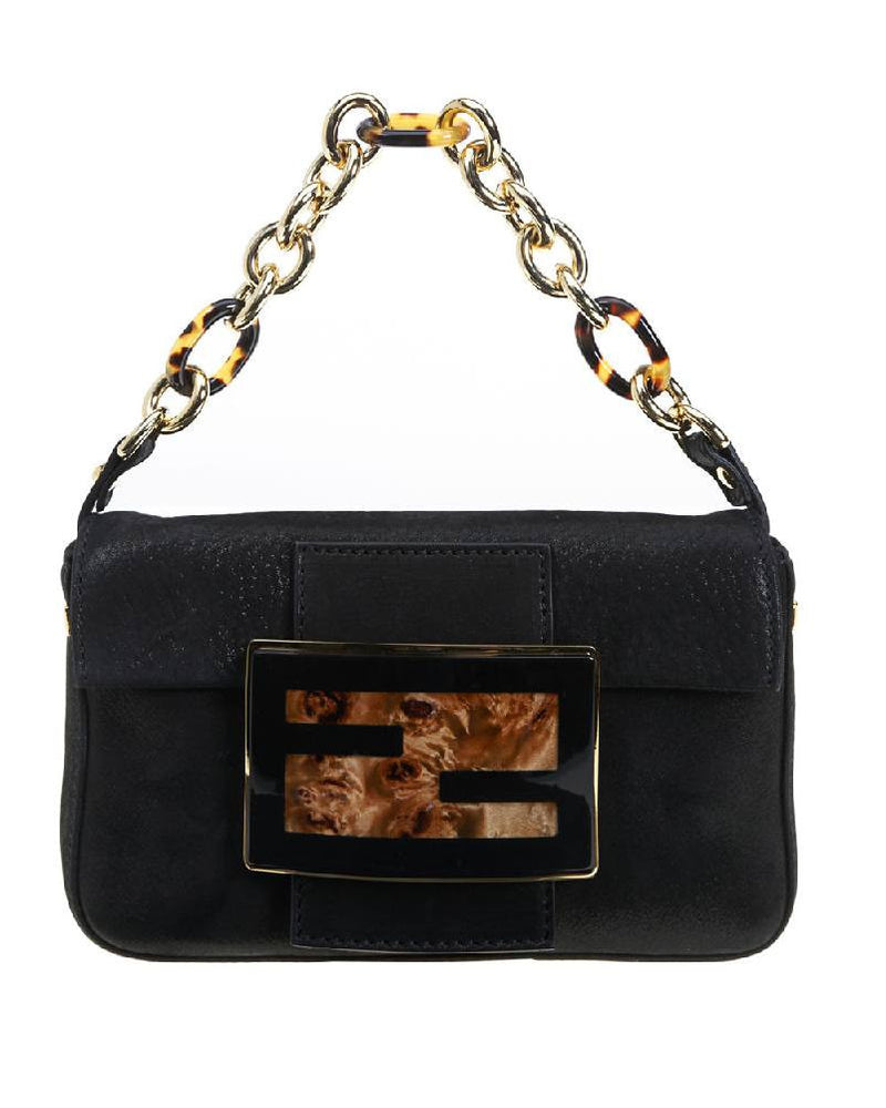 Fendi Dark Gray Savana Mini Mamma Bag-FENDI-Fashionbarn shop