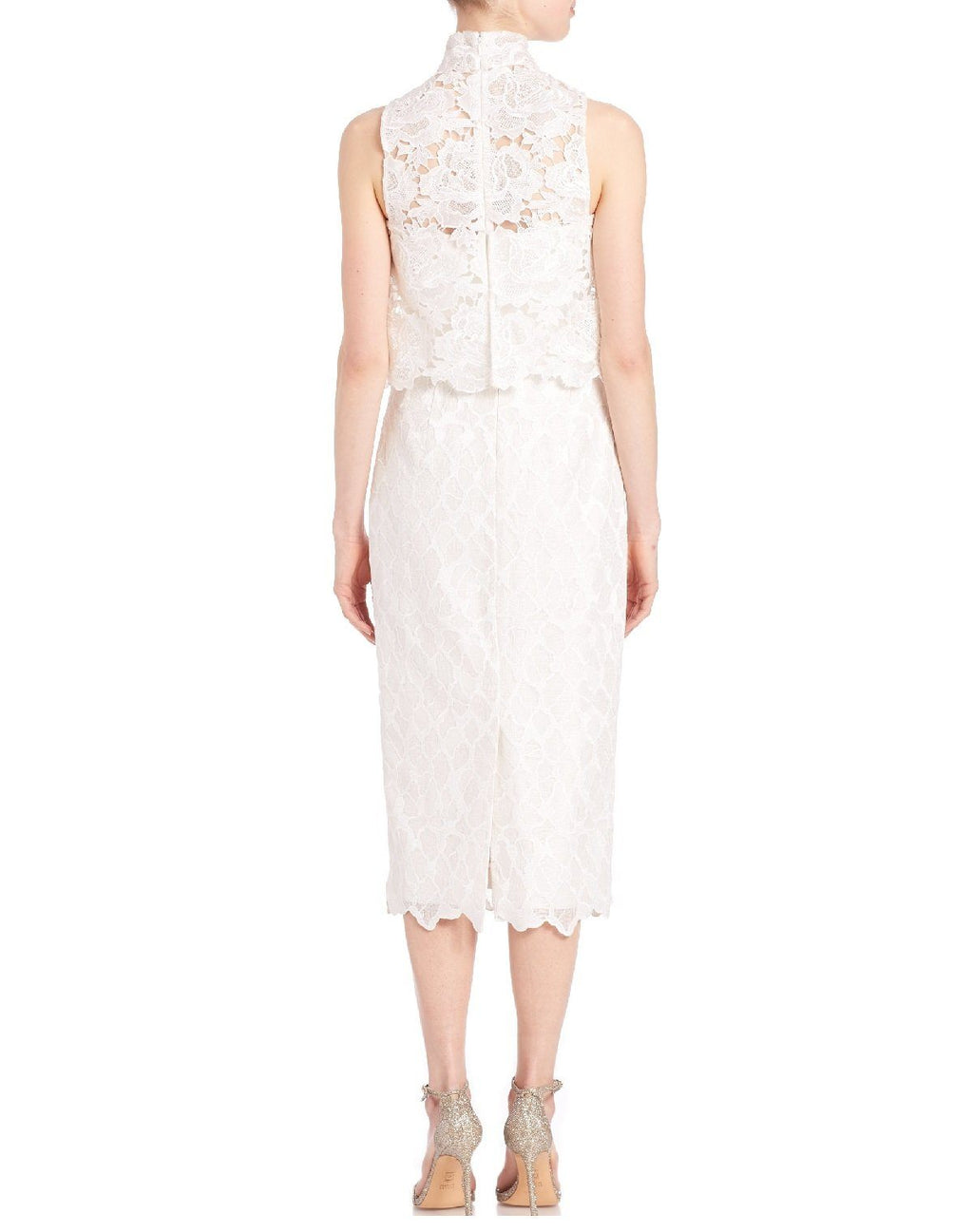 Monique Lhuillier Women's White 2-piece Mock Neck Faux Lace Dress