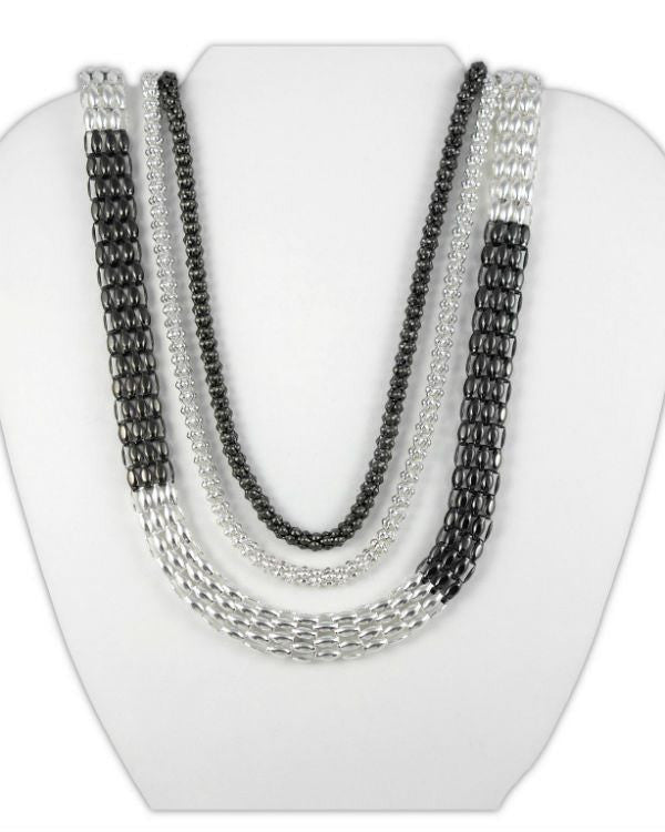 Style&co. Necklace, Silver and Hematite Tone Long Mesh Chain Necklace-STYLE & CO-Fashionbarn shop