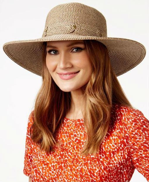 Nine West Natural Heather Paper Straw Floppy Hat - Fashionbarn shop