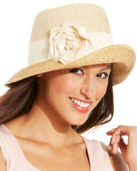 Nine West Pink Packable Flower Cloche Hat-NINE WEST-Fashionbarn shop