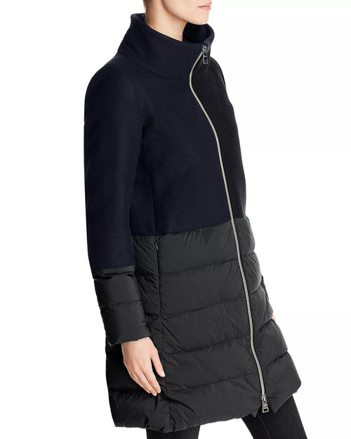 Herno Nuage Lightweight Mixed Media Down Coat In Black