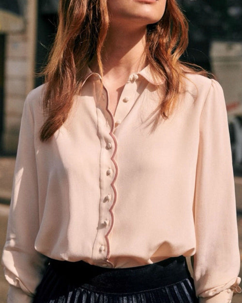 Sezane Silk Long Sleeves Elegant Style Shirts & Blouses