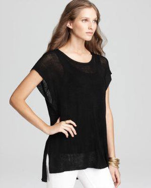EILEEN FISHER BLACK BALLET NECK SHORT SLEEVE TUNIC-EILEEN FISHER-Fashionbarn shop