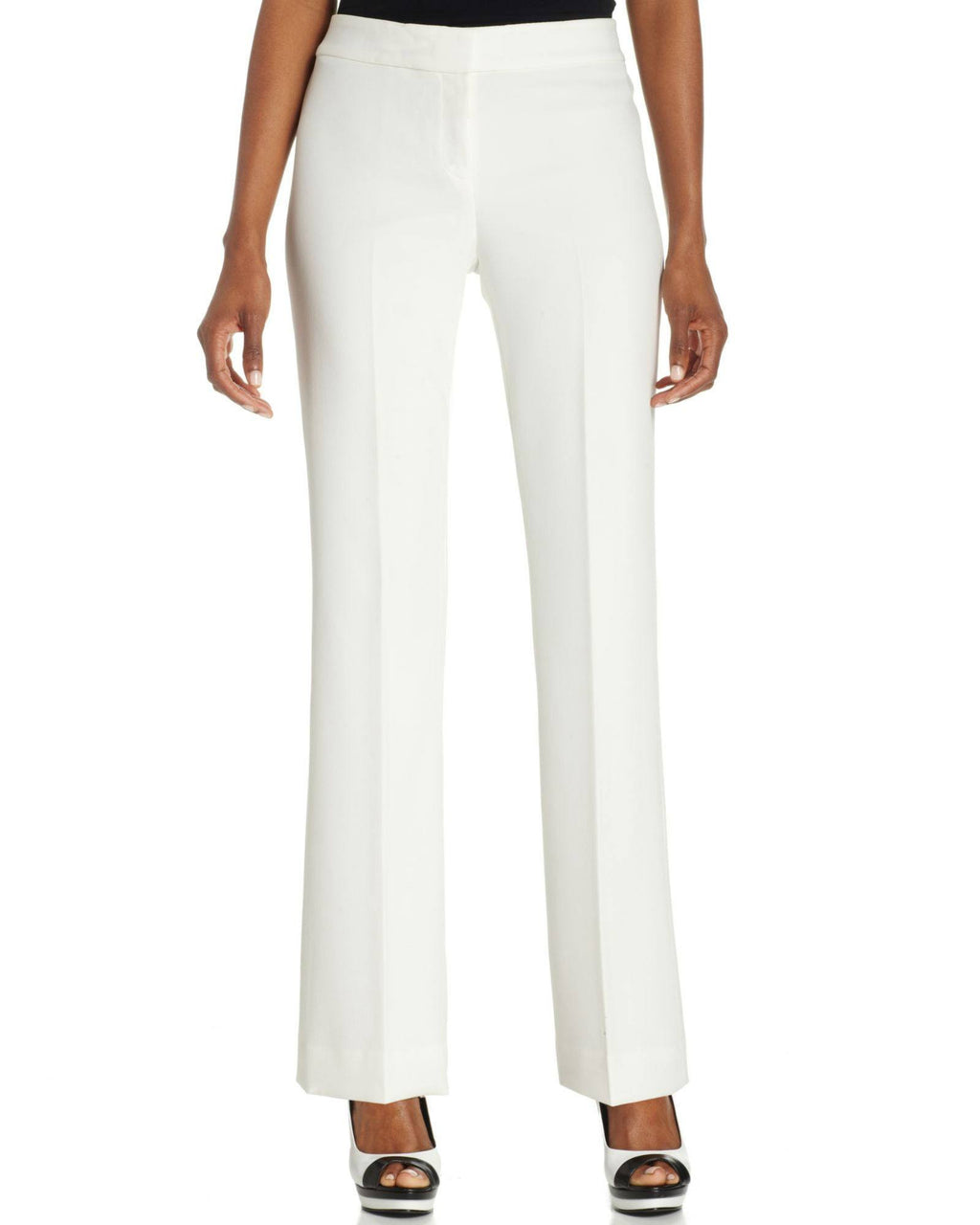 Anne Klein White Petite Stretch Dress Pants-ANNE KLEIN-Fashionbarn shop