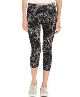 CALVIN KLEIN PANTS, PRINTED CAPRI LEGGINGS BLACK L-CALVIN KLEIN-Fashionbarn shop