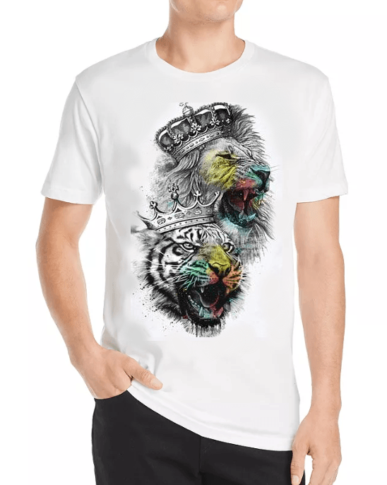 Men's Summer Crown Lion And Tiger 3D Print T-Shirt