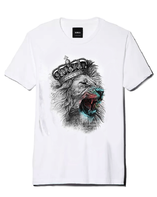 Men's Crown Lion 3D Print Cotton T-Shirt