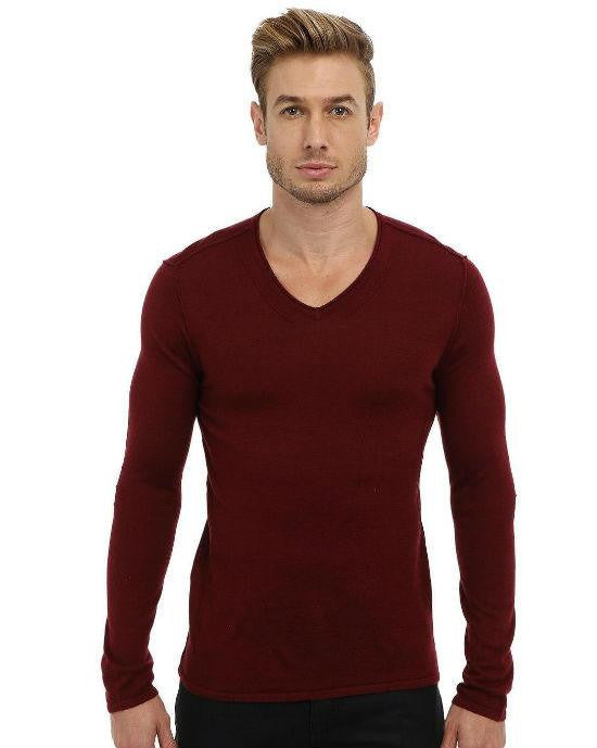 John Varvatos Star USA Men's Long Sleeve V-Neck Sweater with Pintuck Details,-JOHN VARVATOS STAR USA-Fashionbarn shop