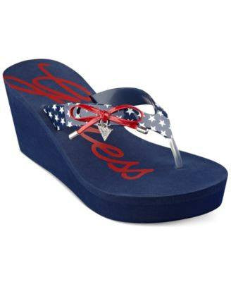 Guess Blue Syona Platform Flip Flops-GUESS-Fashionbarn shop