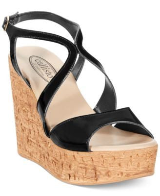 CALLISTO ELLIOT PLATFORM WEDGE SANDALS BLACK-CALLISTO-Fashionbarn shop