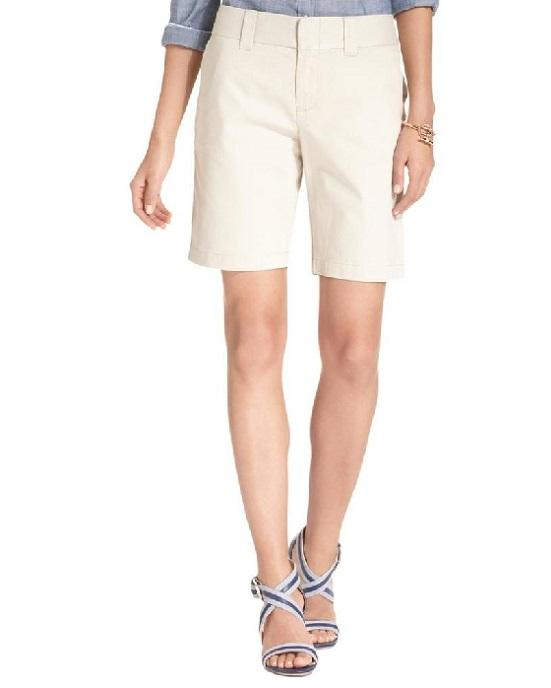 Tommy Hilfiger Twill Flat Front Bermuda, Walking Shorts