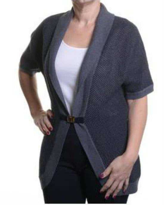 Calvin Klein Women's Short Sleeve Sweater Cardigan with Buckle-CALVIN KLEIN-Fashionbarn shop
