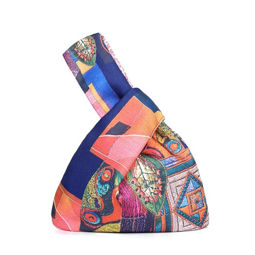 Zuo Japanese Multicolor Print Mini Portable Knot Wrist Bag