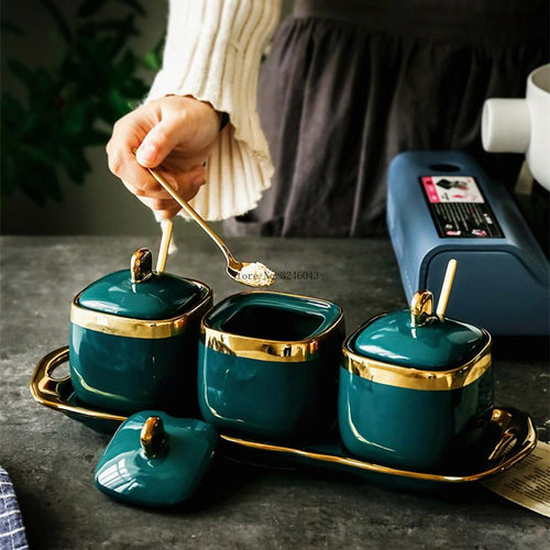 Zuo Luxury Emerald Ceramic Triple Condiment Bowl Set