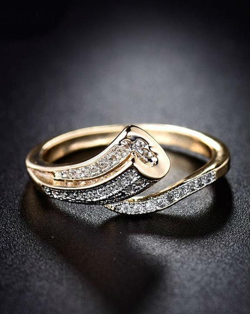 Giemi Unique Finger Band Gold-Color Pave Crystal Zircon Ring