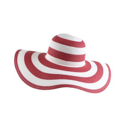 Women's Striped Overflowed Floppy Straw Panama Sun Hat