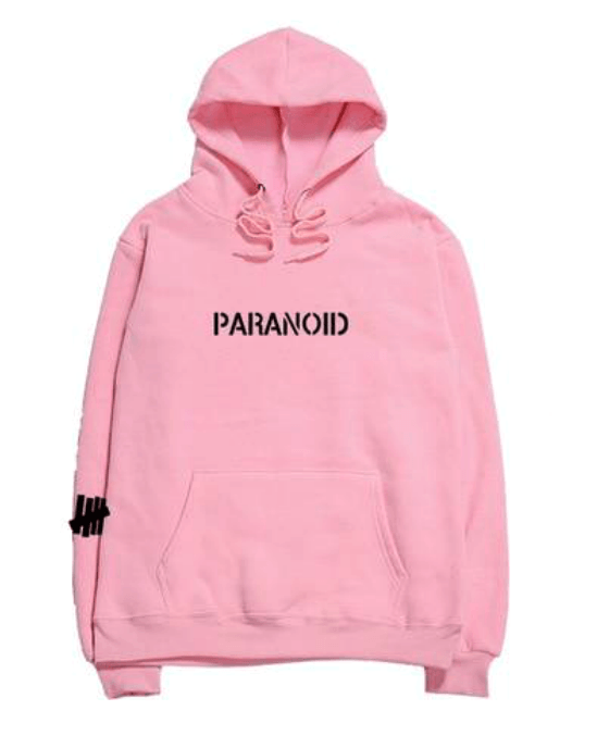 "Women's ""Paranoid"" Letter Print Hooded Sweatshirt"
