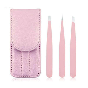 Eyebrow Tweezers Stainless Steel Point Hair Removal Makeup Tool Kit with Bag