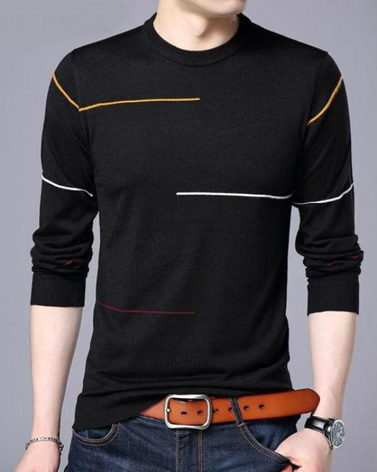 Tri-Color Line Crewneck Sweater