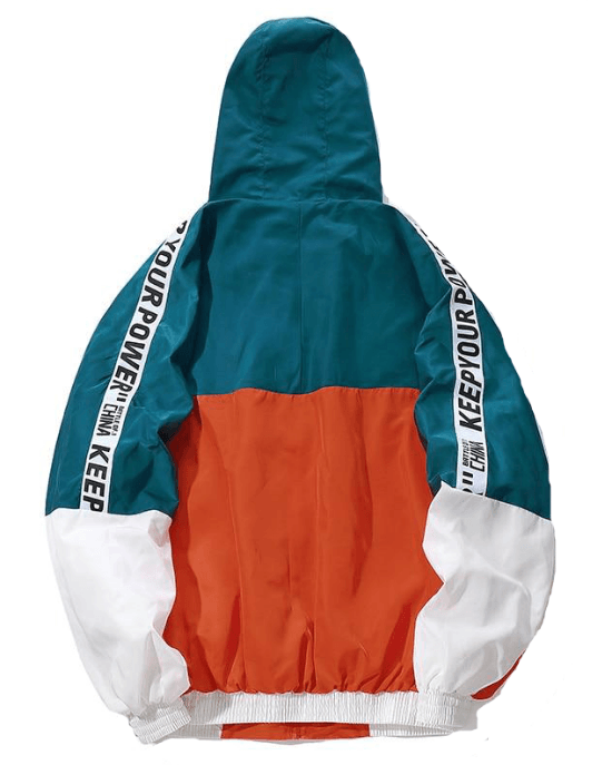 Men's Multicolor Hooded Windbreaker Jacket