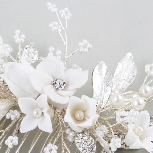 Abyjewelry Floral Silver Hair Comb Piece Pearls Headpiece