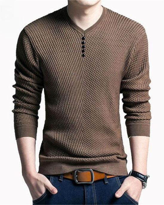 Men's Cashmere Wool V-Neck Pullover Slim Fit Sweaters