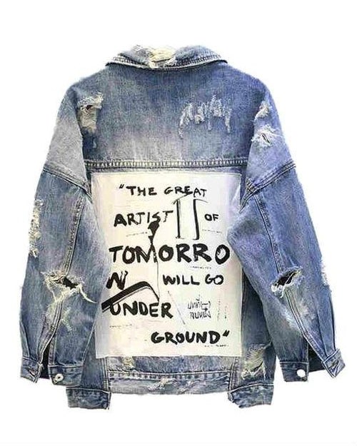 New Vintage Letter Print Frayed Women's Denim Jacket