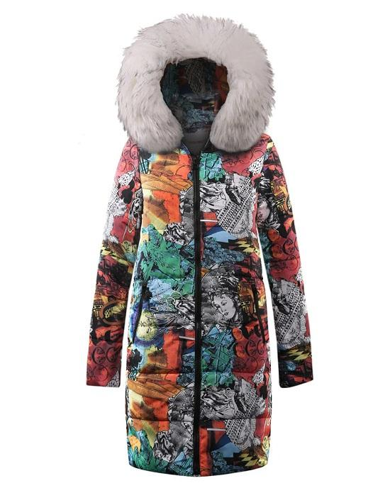 Faux Fur Trim Hooded Vivid Print Pattern Slim Long Coat