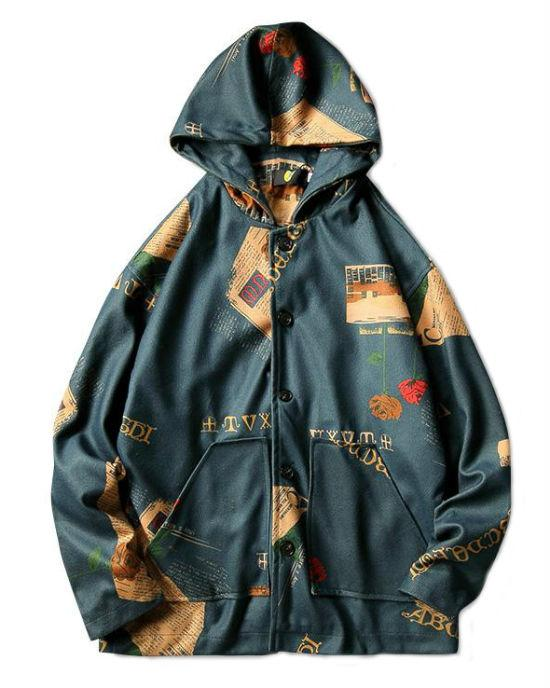 Men's Hooded Bomber Rose Print Jacket