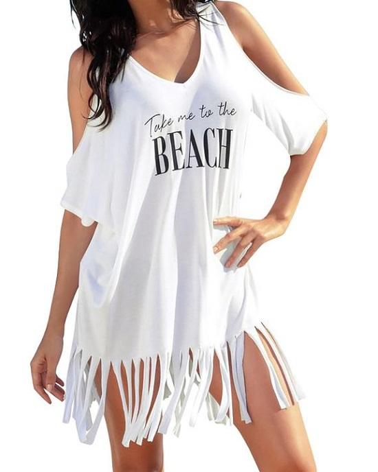 Women's Summer Tassel Logo Print Baggy Beach Dress