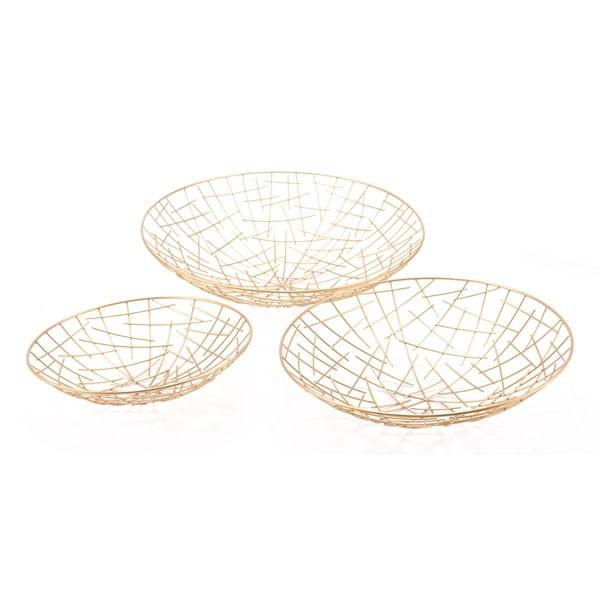 Zuo Set of 3 Gold Plate Gold