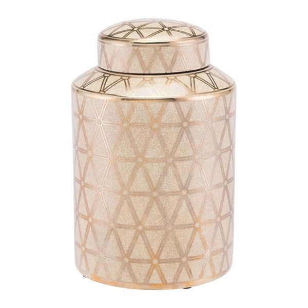 Link Covered Jar Small Gold And Yellow