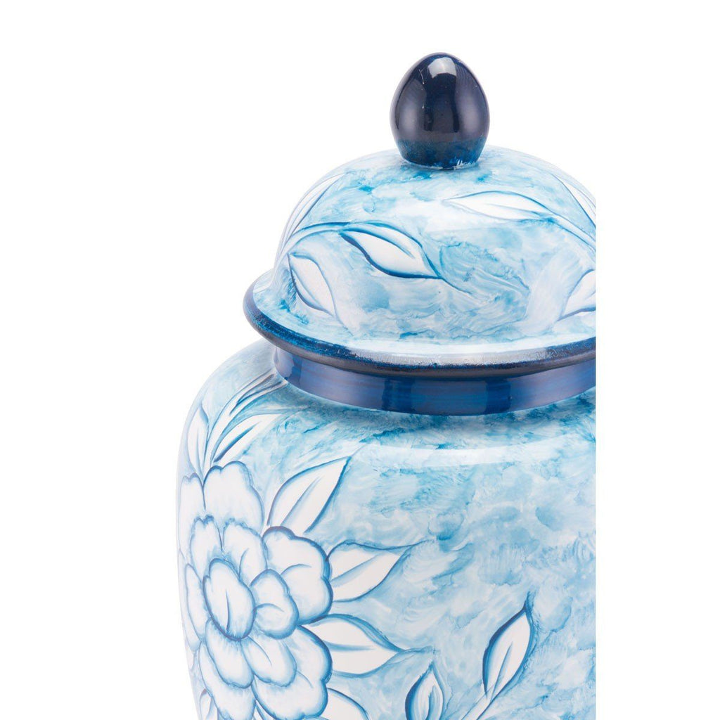 Flower Temple Jar Large Blue And White