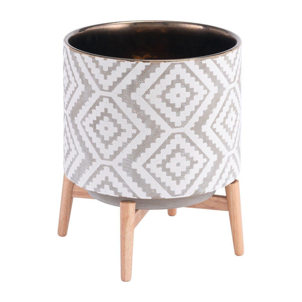 Zuo Llano Large  Planter Gray & White
