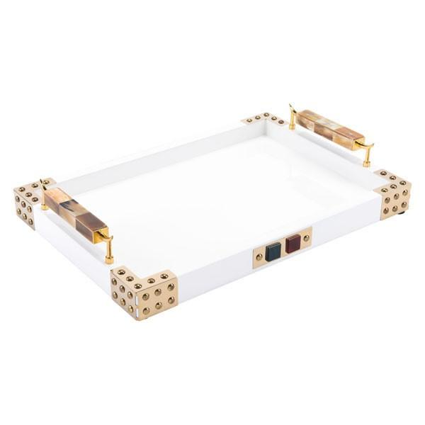 Zuo Rectangular Tray With Horn & Agate Handl